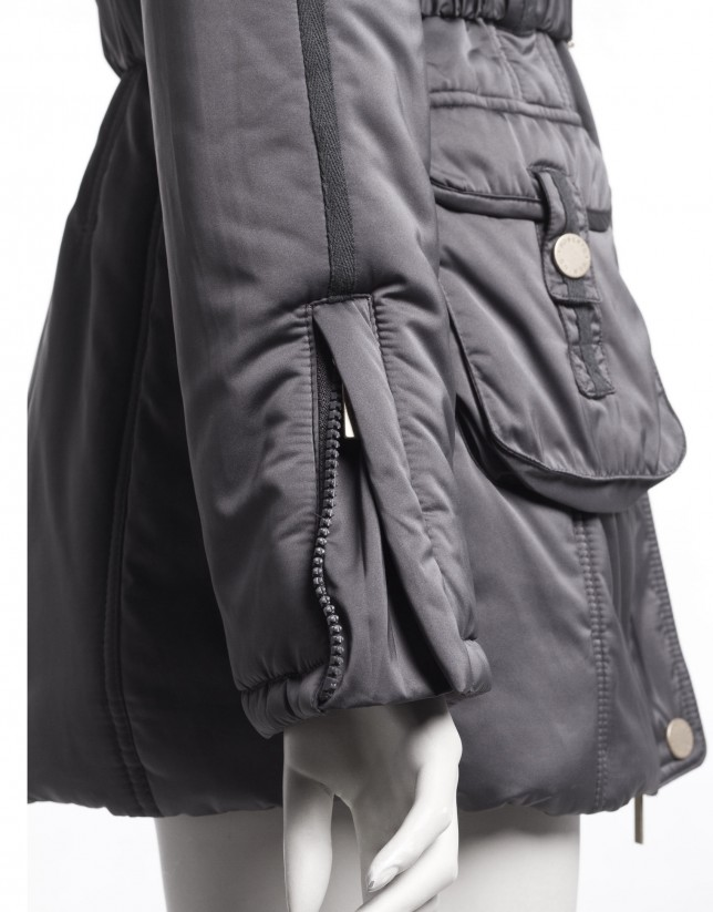 Dark grey hooded parka