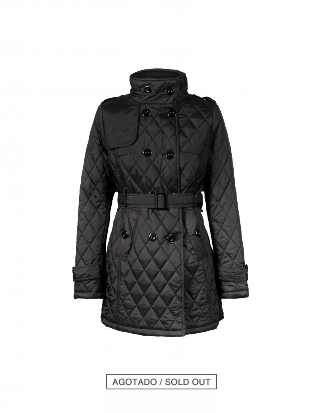 Long black quilted parka