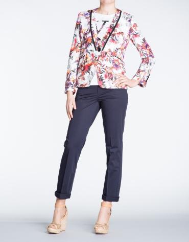 Floral print tuxedo collar jacket