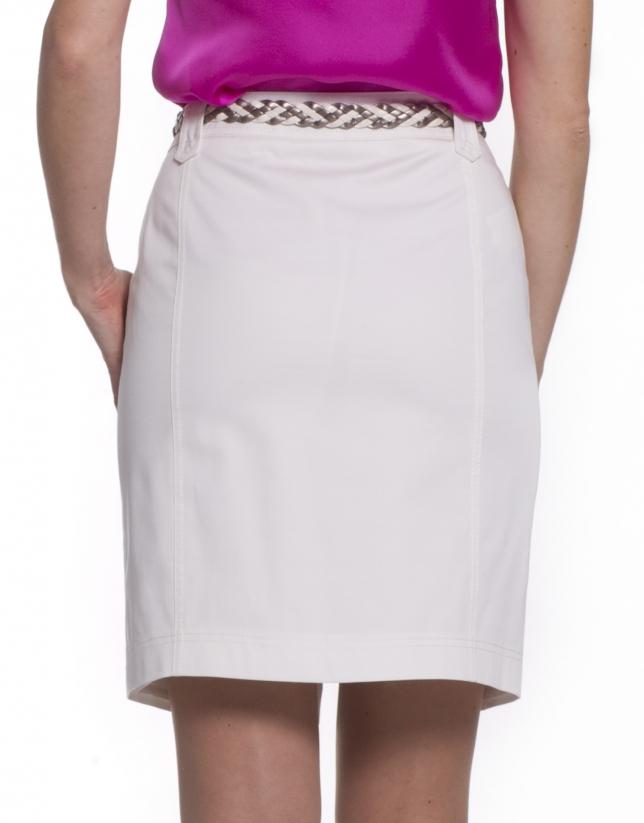 Straight off-white cotton skirt