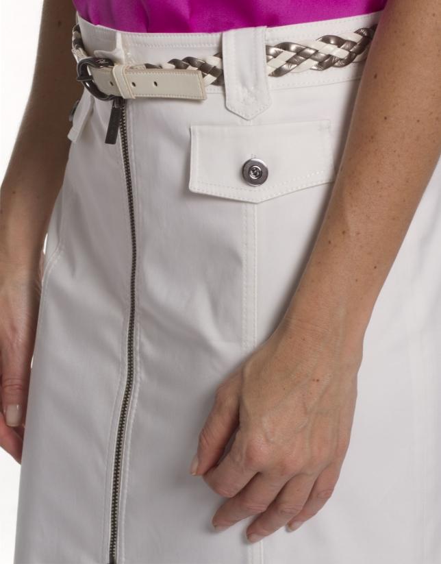 Jupe droite coton blanc cassé