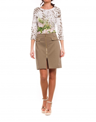 Straight beige cotton skirt