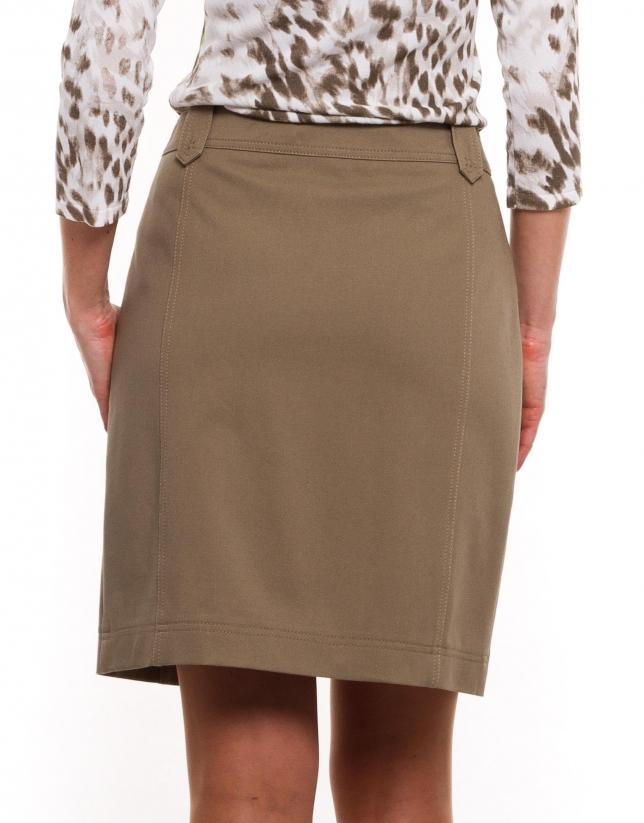 Straight beige cotton skirt