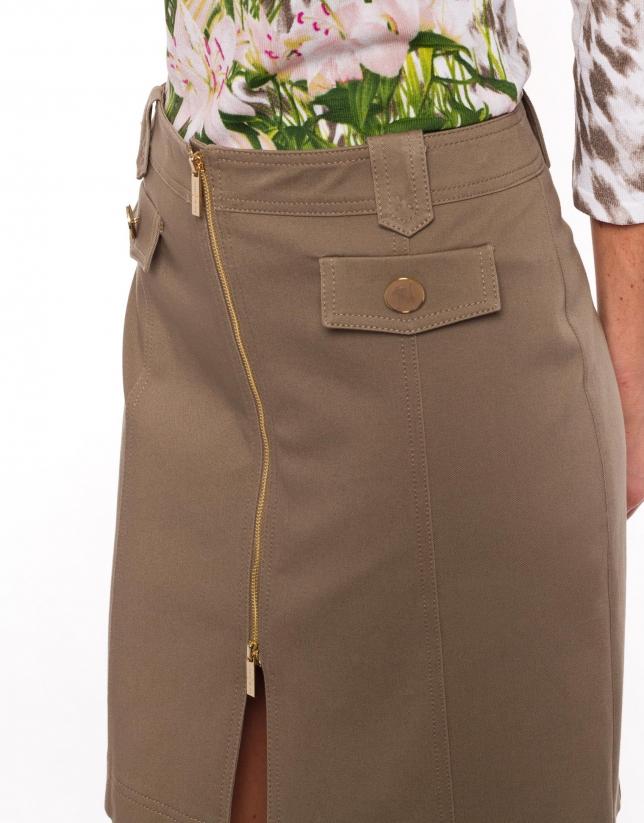 Falda recta algodón beige