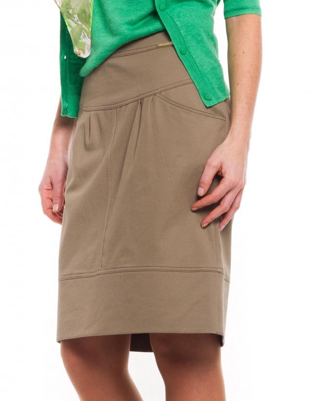 Wide waisted cotton skirt