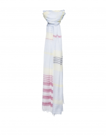 Grey and red striped scarf