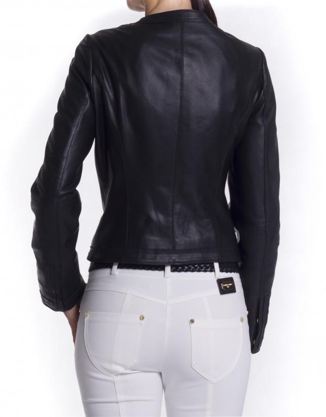 Round neck leather jacket