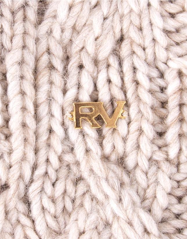 Mitaines en tricot beige