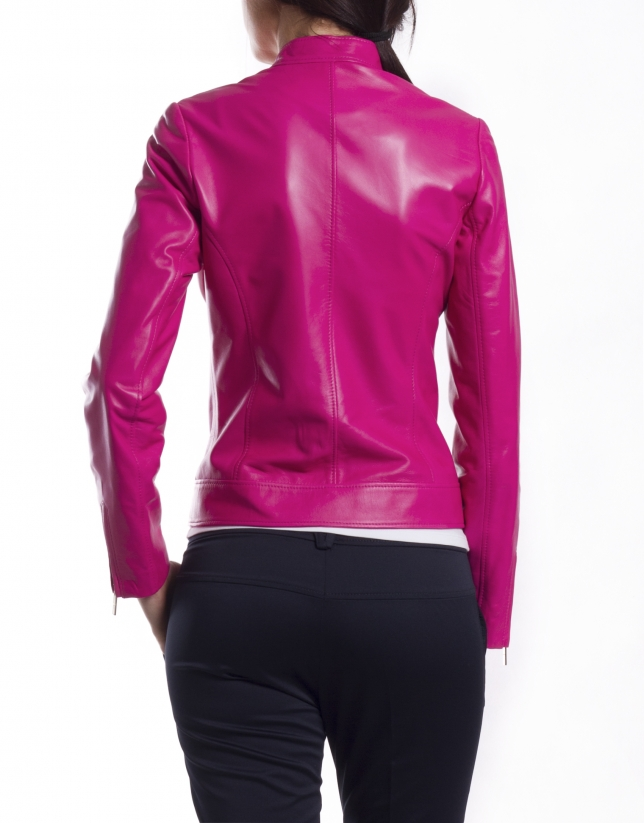 Short leather jacket with zippers