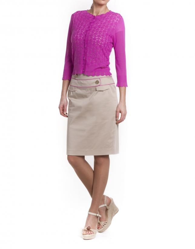 Double waistband straight skirt
