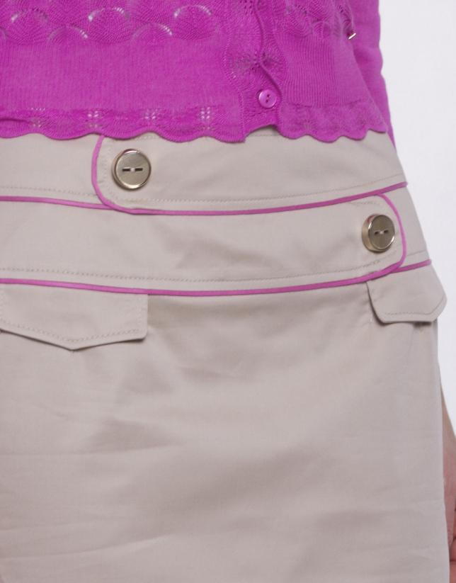 Falda recta con doble cintura