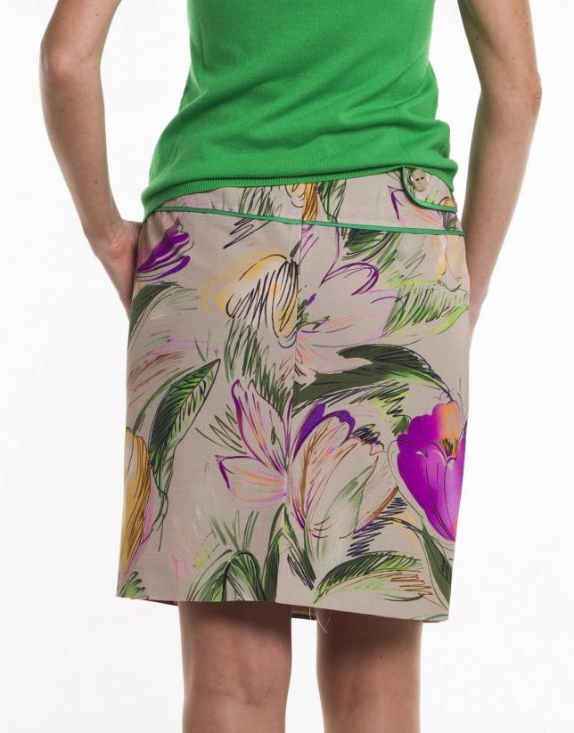 Falda recta cintura ancha