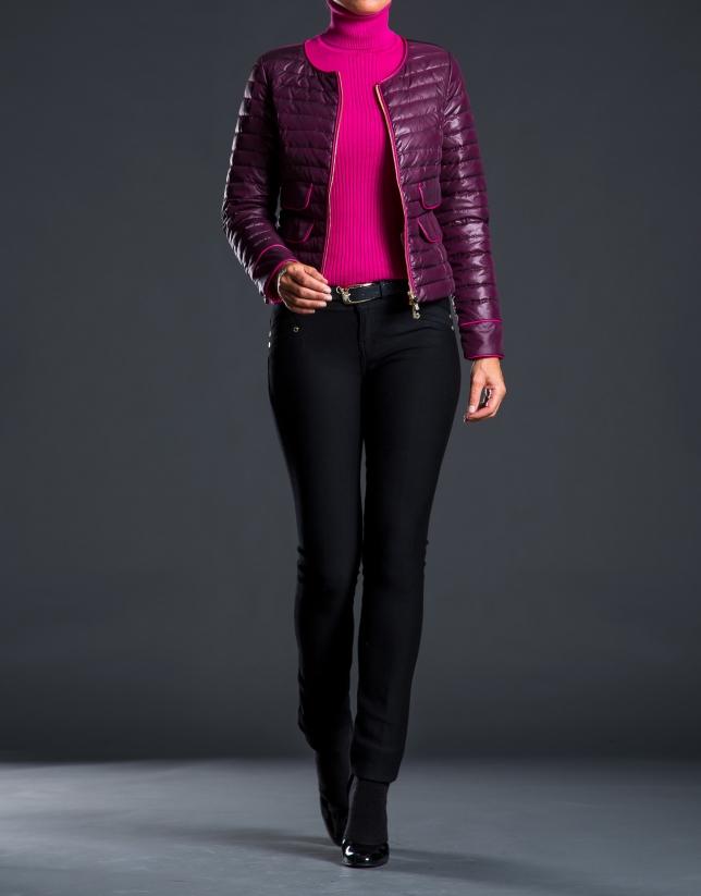 Short fuchsia - aubergine ski jacket