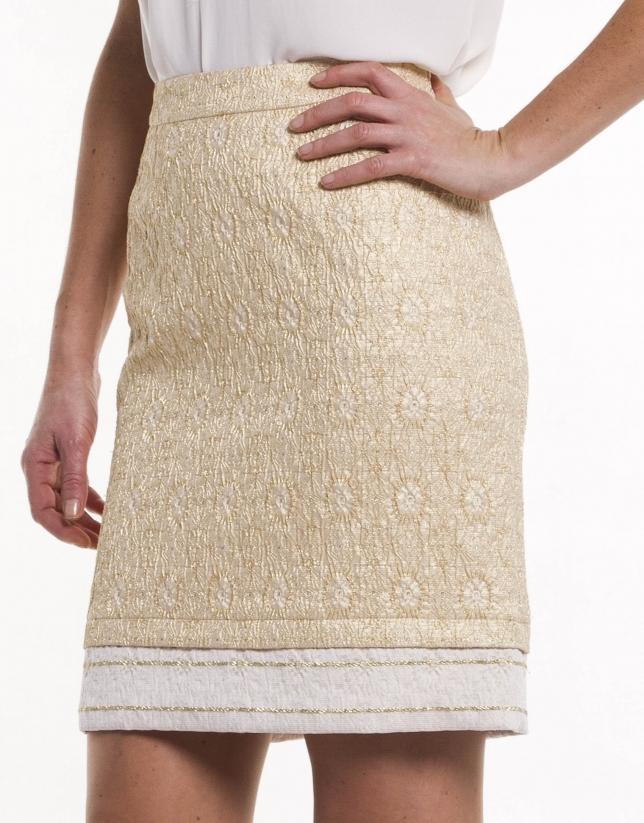 Falda recta brocado dorado