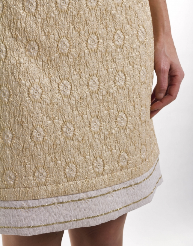 Gold brocade straight skirt