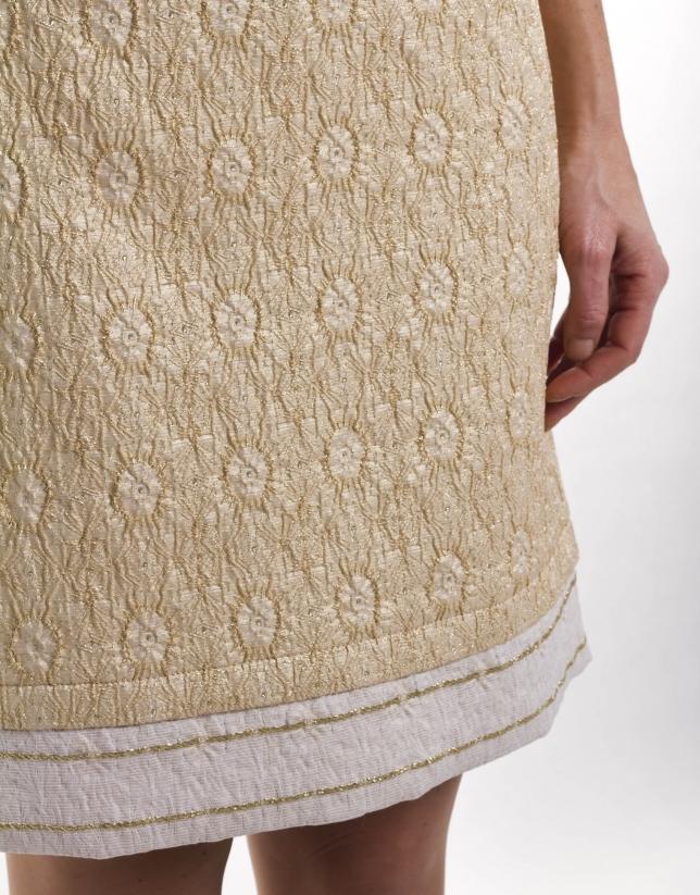 Gold brocade straight skirt