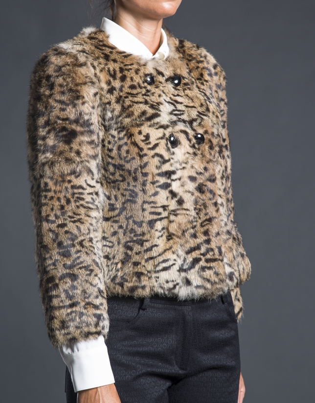 Beige rabbit fur jacket