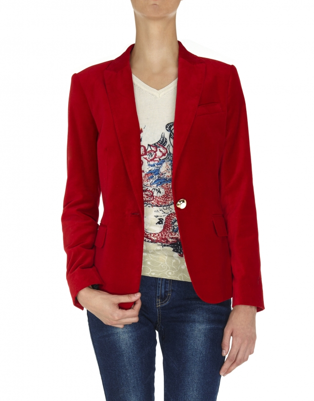 Red velvet blazer with one button
