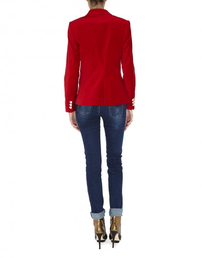 Red velvet blazer with one button