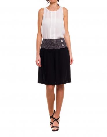 Pleated skirt with print yoke