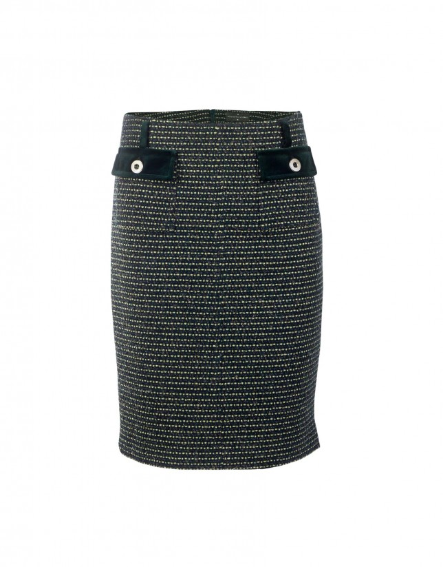 Bottle green tweed skirt