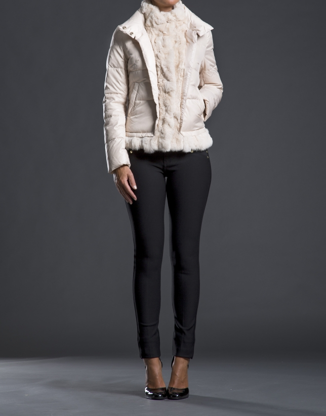 Beige fur quilted jacket