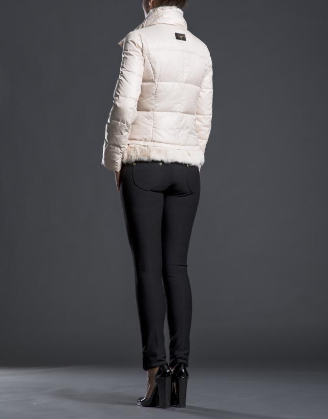 Beige fur quilted jacket
