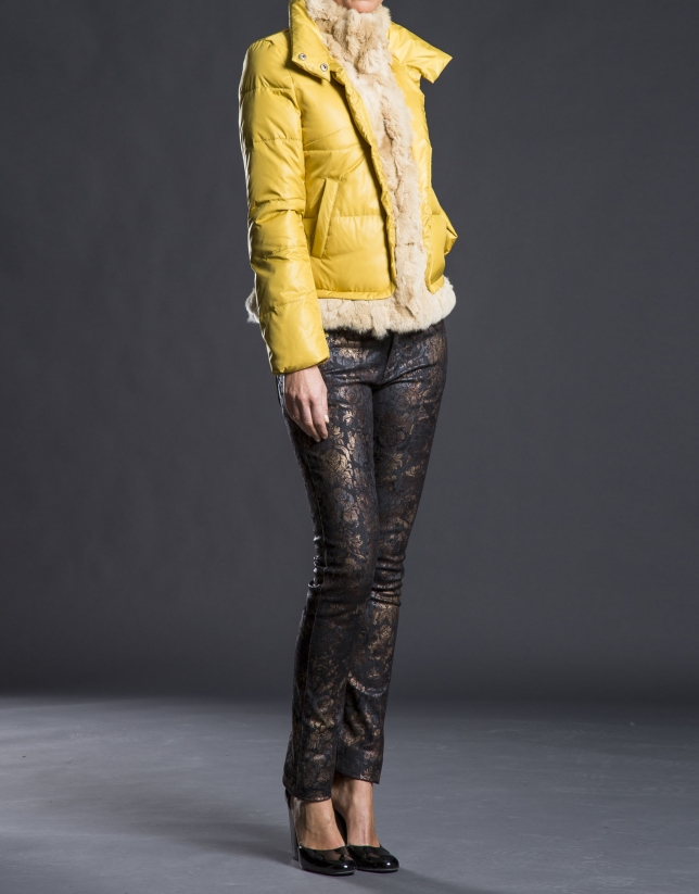 Mustard fur quilted jacket