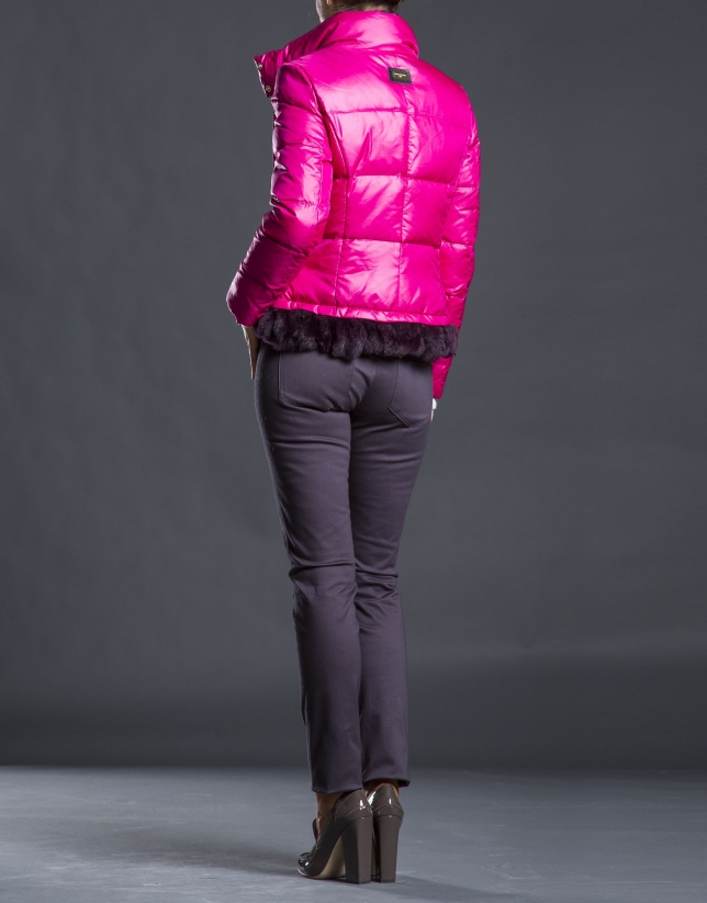 Fuchsia quilted jacket  with fur