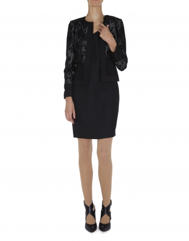 Black dressy jacket with combined plain and floral fabrics