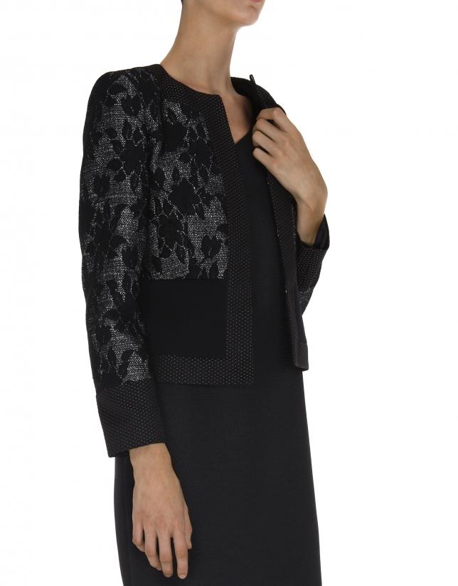 Veste de soirée noire, tissu combiné uni et fleurs