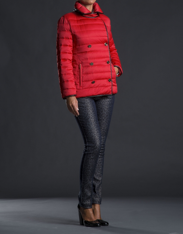 Red double-breasted ski jacket with trimming
