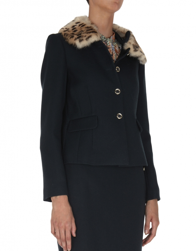 Olive green wool jacquard jacket with detachable fur collar