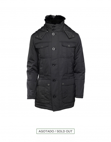 Black casual quilted anorak