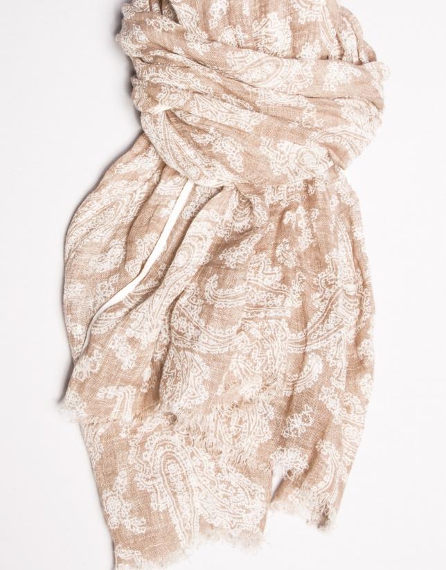 Beige print scarf