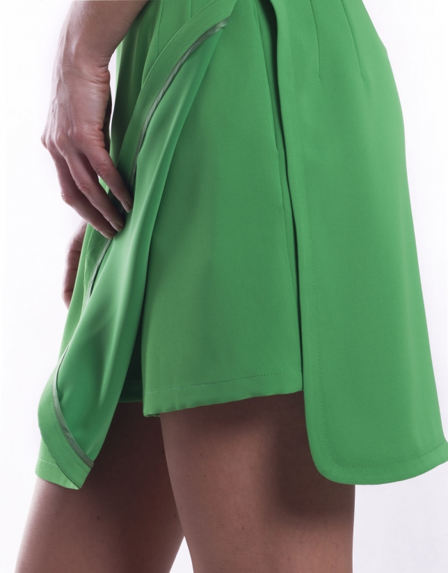 Shorts with overlapping skirt