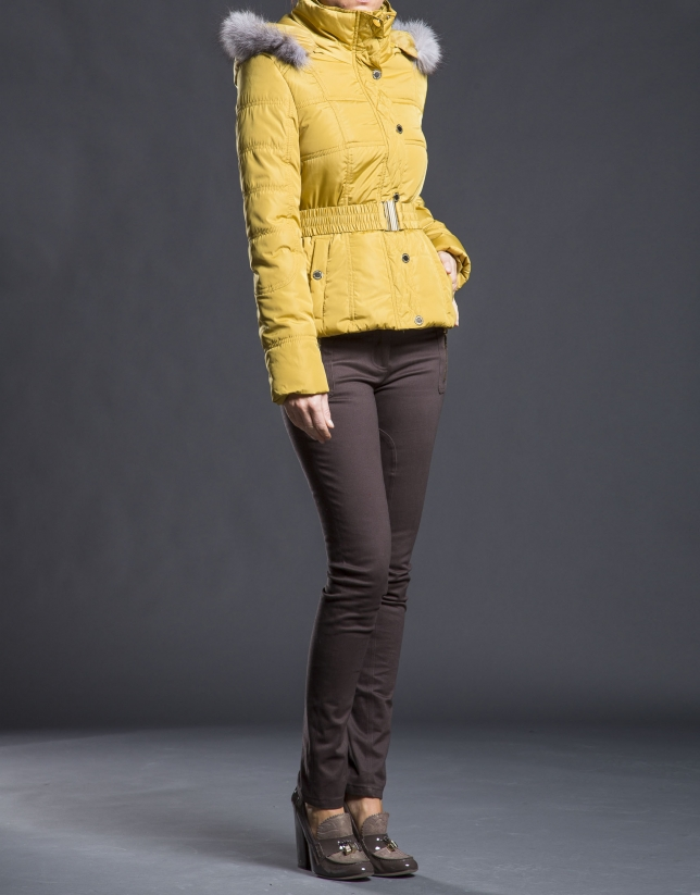 Mustard quilted jacket with hood