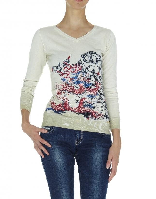 Beige cashmere sweater with dragon design