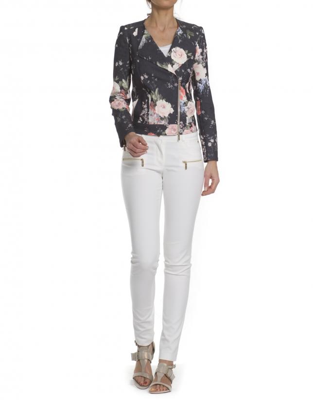 Short jacket printed roses