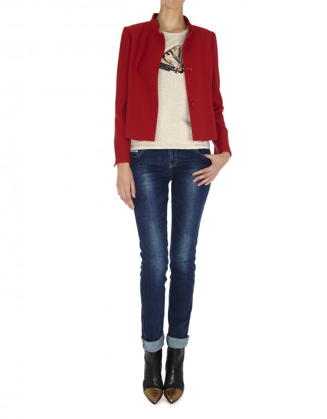 Veste courte en laine, col Mao, jacquard rouge
