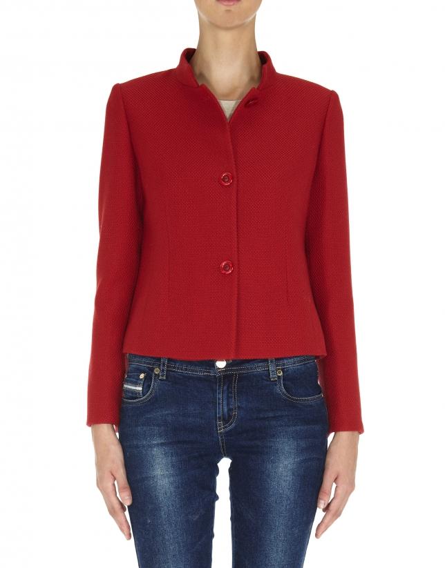 Chaqueta lana corta cuello Mao Jacquard rojo