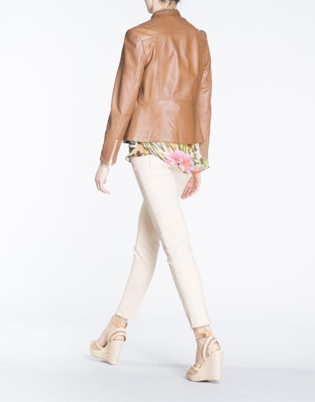 Short brown leather windbreaker