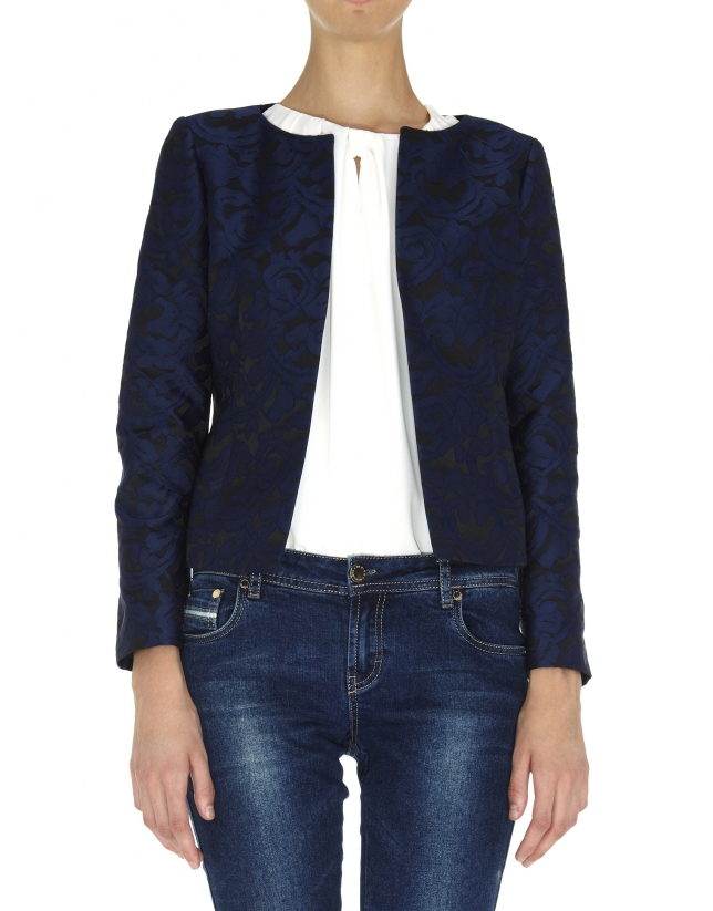 Midnight blue and black short jacket
