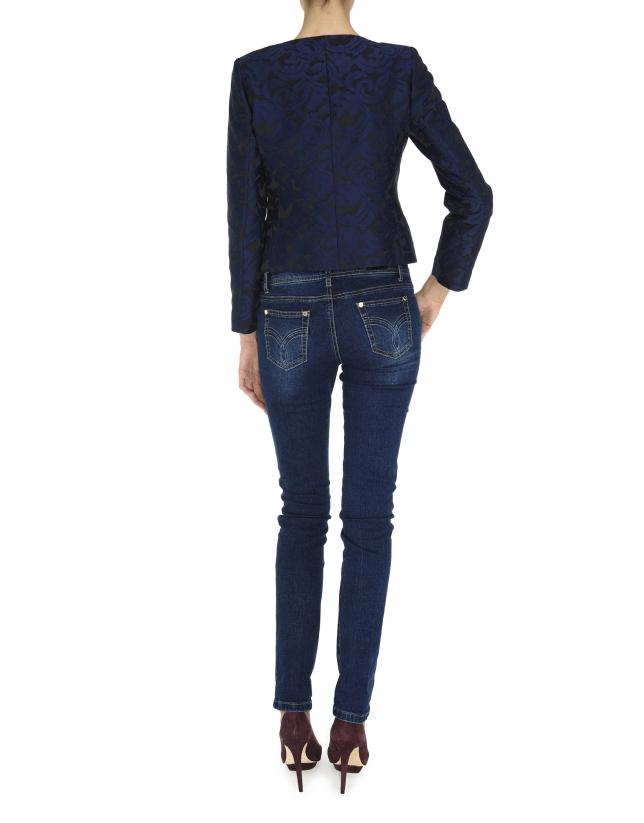 Midnight blue and black short jacket