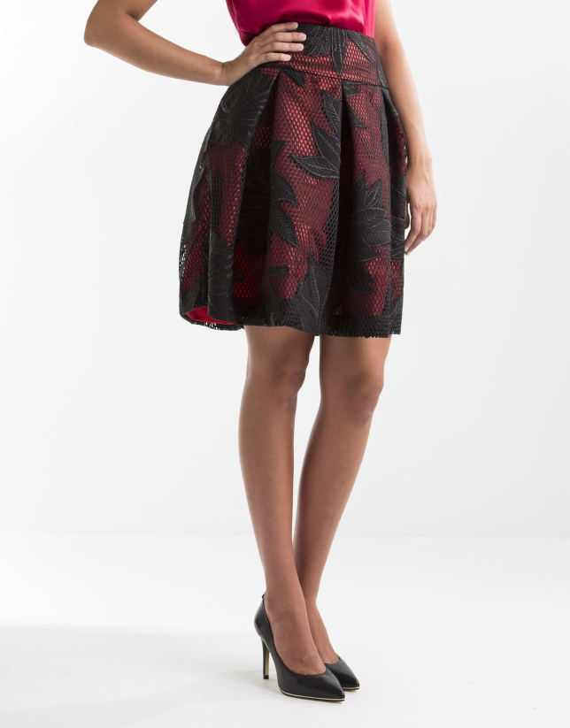 Black and red embroidered skirt
