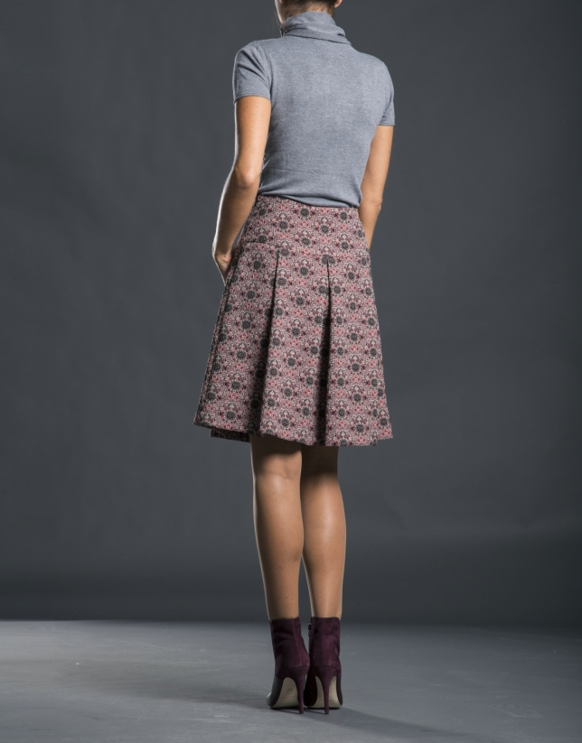 Pleated aubergine jacquard skirt