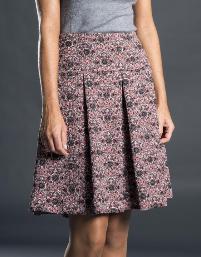 Pleated aubergine jacquard skirt