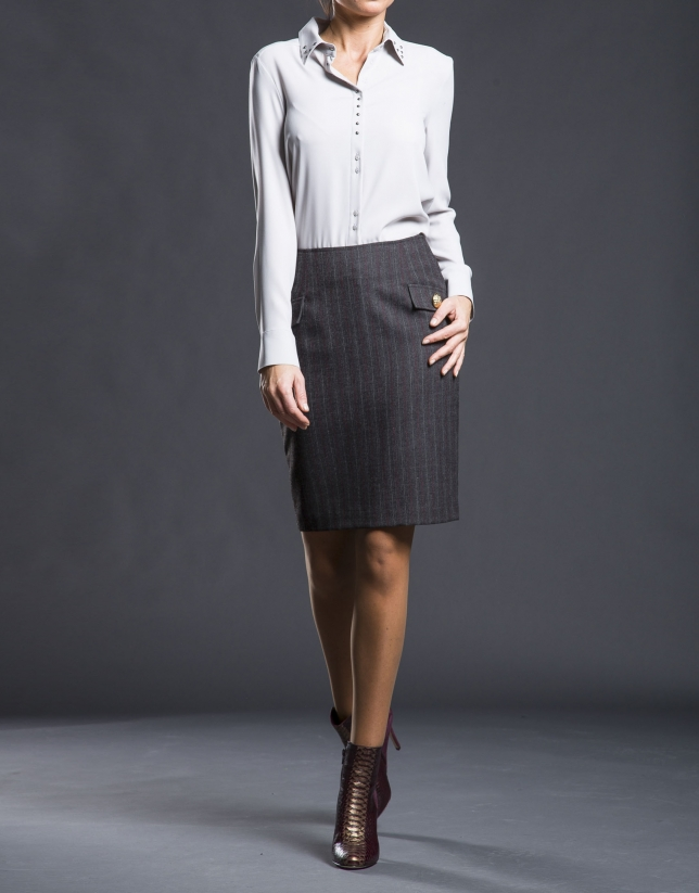 Gray straight skirt with flaps