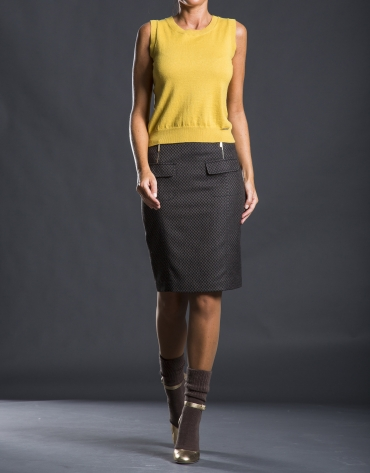 Straight jacquard skirt with pockets