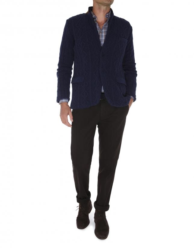 Veste tricot marine avec coudières